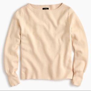 J. Crew Subtle Boatneck Ivory Sweater Merino Wool